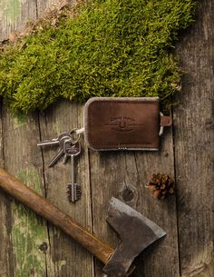 Leather & Wool Felt Key fold | Wood Brown