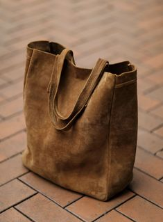 WWJTOTEBAG001, Camel Suede Leather All By Hand Stitching