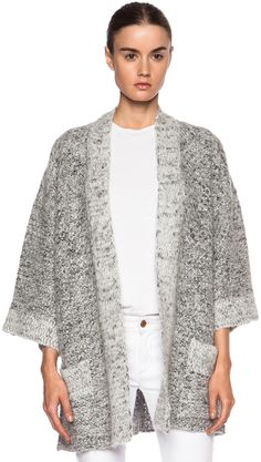 Isabel Marant Dazzle Cowens Viscose-Blend Knit Sweater in Chalk