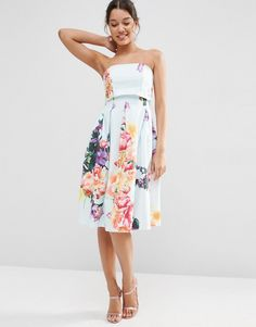ASOS Fold Over Bandeau Mini Prom Dress In Placed Bouquet Floral