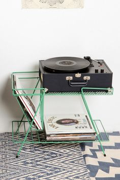 Wire Storage Table  #UrbanOutfitters    Nice storage for its size! (helps room to look less messy)