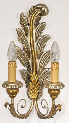 1 Paar Wandleuchter Holz Gold Silber, 2 flammig  von Freude am Wohnen - Wohnen mit Freude auf DaWanda.com