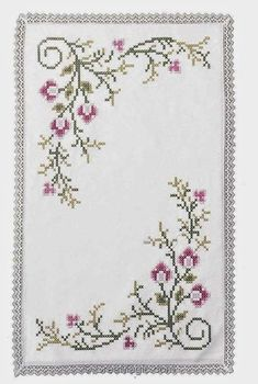 Handicrafts: Designs for table cloths and frame / Tablecloth cross stitch patterns Cross Stitch Boarders, Cross Stitch Flowers, Cross Stitch Charts, Cross Stitch Designs, Cross Stitching, Cross Stitch Patterns, Ribbon Embroidery, Cross Stitch Embroidery, Embroidery Patterns