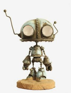 Where as this robot been? Robot Cute, Cool Robots, I Robot, Steampunk Robots, Steampunk Design, Recycled Robot, Robot Monster, Arte Cyberpunk, Arte Robot