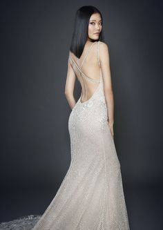 Lazaro Silver Shimmer Checkered Net Over Cashmere Chiffon Trumpet Bridal Gown Plunging V Neckline With Crisscross Crystal Straps At Back