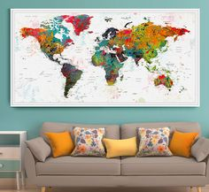 Push pin travel map wall art print extra large wall art push pin push pin travel map wall art print extra large wall art push pin world travel map world map poster world travels map map art print l31 walls gumiabroncs Image collections