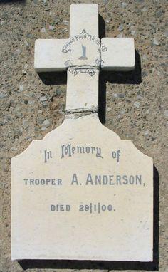 Mole's Genealogy Blog: Intombi Cemetery Memorials, Ladysmith: Anglo-Boer War  Memorial Inscription to Alexander O Anderson of Border Mounted Rifles, stepson of W Dixon Smith