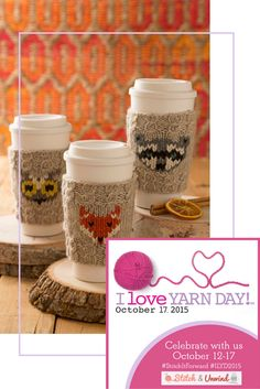 Today we have probably the cutest knitting pattern I've ever seen for @iloveyarnday. Nothing makes me want to curl up with a hot drink like these adorable animal cup cozies! Pick your favorite forest friend and get knitting with this free pattern from @simplicitypins. #ILYD2015 #StitchItForward