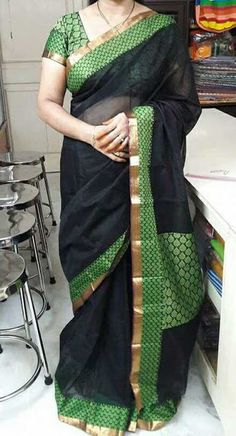 Silk cotton sarees With brocade Blouse | Buy online Sarees | Elegant Fashion Wear