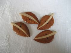 Set of 4 REALISTIC Wood Leaf BUTTONS by abandc on Etsy, $8.74