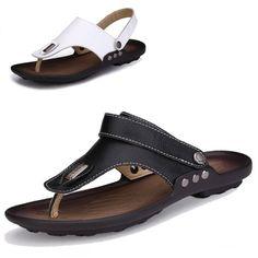 Couro genuíno de verão Flip Flops Shoes para os homens sandálias chinelos de moda praia sapatos casuais suave Zapatos Hombre Chaussure Homme
