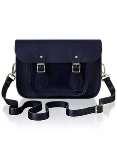 "The Cambridge Satchel Company 11"" Haircalf Pocket Leather Satchel Bag, Navy at John Lewis & Partners Satchel Bag, Leather Satchel, Calf Leather, Everyday Bag, Cambridge Satchel, Satchels, John Lewis, Calves, Shoulder Strap"