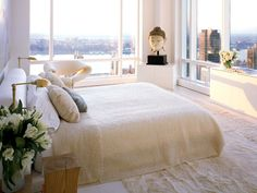 Bedroom in a New York penthouse designed by Kelly Behun...
