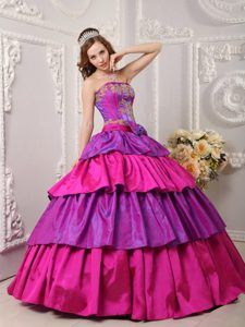 Amazing Fuchsia and Hot Pink Strapless Layered Taffeta Quinceanera Dress with Bow