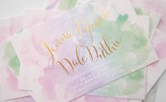 Paperi & Co.   Watercolour & Gold Foil Save the Date #invitation #wedding #savethedate
