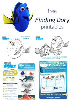 Celebrate the new movie with these fun Finding Dory printables! Coloring pages, mazes, calendars, a mobile, and a fun Memory game will cure summer boredom!