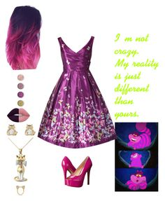 """""""Cheshire Cat"""" by sarahnewton272 on Polyvore featuring Aamaya by priyanka, Jessica Simpson, Lime Crime, Terre Mère and Disney"""