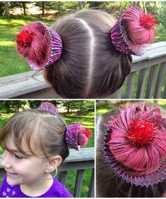 """Crazy Hairstyles for """"Wacky Hair Day"""" at School Cupcake hair for crazy hair day at school for future daughter!Cupcake hair for crazy hair day at school for future daughter! Crazy Hair For Kids, Crazy Hair Day At School, Crazy Hat Day, Crazy Hats, Crazy Hair Day Girls, School Hair, Hair Girls, Crazy Socks, Crazy Girls"""