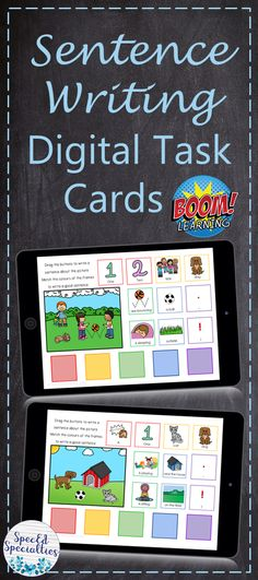 These digital task cards are perfect for distance learning at home during the CO-VID19 pandemic!  Students practice writing complete sentences with proper grammar using the drag-and-drop words and phrases that are provided.  Colour-coded for scaffolded support for early learners, ELL students, and special education.  For use on any Internet-enabled device, BOOM Cards are self-grading, and provide immediate feedback to students.  Click to check them out! Writing Complete Sentences, Sentence Writing, Writing Practice, Writing Activities, Fun Activities, Touch And Feel Book, Ell Students, School Closures, Card Organizer