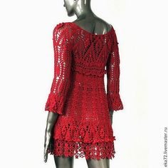 crochelinhasagulhas: Vestido de crochê vermelho de Katerina Ryabikova