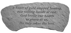 Memorial Bench: A heart of Gold Stopped Beating