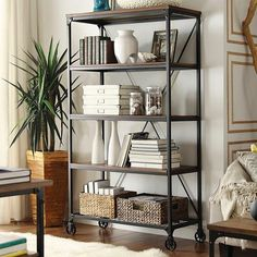 Merida 4 Shelf Mixed Media Wide Bookcase Black - Homelegance
