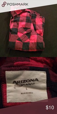 Arizona Jeans Red | Black | Plaid | Flannel | Thin enough to wear during these hot summer months Arizona Jean Company Tops Button Down Shirts