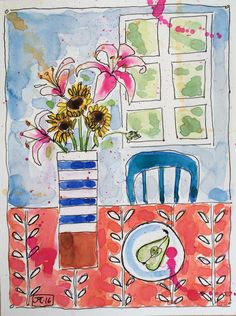 Lilies and Sunflowers by j Marchington