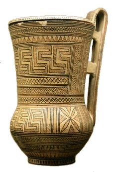 "greek pottery - 9th century b.c. - these pieces of pottery were some of the first uses of the now famous ""greek key pattern"""