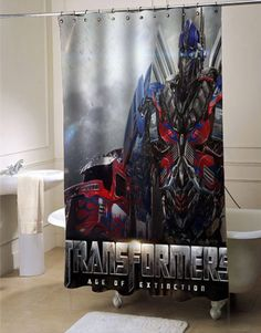 96a2a2ab9b5 Transformers Age of Extinction Latest shower curtain customized design for  home decor Transformers Age