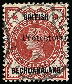 """Betschuanaland, Scott 53, SG 54. 53 (54) 1890 ½d vermilion Q Victoria of Great Britain, overprinted """"Protectorate"""" (SG Type 16) 15mm long, rare and undercatalogued as only a few sheets were printed, this stamp is difficult to locate as this was an essay overprint that was pressed into service during a stamp shortage, in addition to which it bears a strike of the very rare """"MOLEPOLE""""   Anbieter Colonial Stamp Company  Saalauktion Ausruf: 1605.00 US$ (ca. 1271 EUR)"""