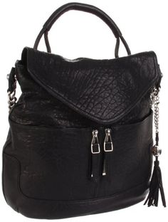 $455.00-$455.00 Stash your essentials in this roomy flap-front silhouette of distressed leather, finished with front pockets and a chic chain and leather strap. Double top handles, 6inch drop Shoulder strap, 10? drop Magnetic flap closure Protective metal feet One inside zip pocket Two inside open pockets Two outside open pockets Nylon lining 14?W X 13?H X 3?D Imported