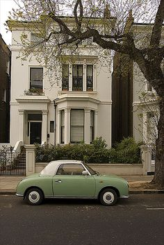 Nissan Figaro ~ Notting Hill with green car ~ London ~ England ~ Mint Green Aesthetic, Aesthetic Colors, Aesthetic Pictures, Images Esthétiques, Belle Photo, Picture Wall, Future House, Aesthetic Wallpapers, Dream Cars