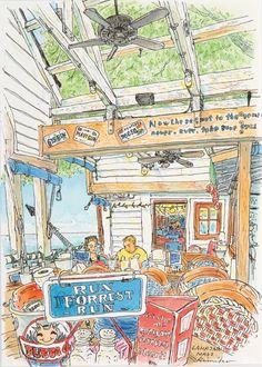 風に吹かれて Blowin 'in the Wind関本 紀美子 Sekimoto Kimiko108,000円(1,190US$) Blowin' In The Wind, City Sketch, Anime Scenery, Urban Sketchers, Food Illustrations, Cute Illustration, Coffee Break, Art Journals, Sketchbooks