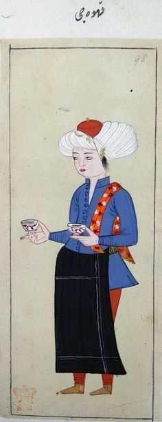 Ottoman 1620 - The Habits of the Grand Signor's Court. A youth who serves coffee wearing a blue tunic, red trousers, yellow shoes and white turban with a red cap and holding a cup in each hand. Inscribed. Album contains 124 paintings of Turkish sultans and court officials. Also, black apron!