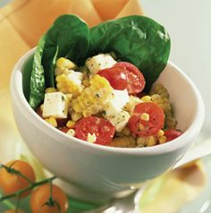Fresh Mozzarella, Corn and Tomato Salad is a great side salad, but it can easily transition to a main dish salad by adding something from the grill - chicken, salmon, shrimp, pork loin or steak. Why not?