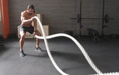 I'm a big fan of battle ropes. They're an incredible and unique low-impact cardio and metabolic workout. Lose Weight Quick, Best Weight Loss, Healthy Weight Loss, Burn Fat Men, Crossfit, Cardio, Hiit, Battle Rope Workout, Metabolic Workouts