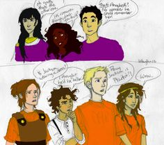 Reaction of both camps when they saw Percabeth's moment -- cooolllourrred (original line art: Burdge. Not sure who colored though)