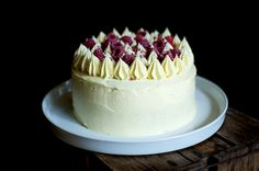Pretty vanilla and raspberry cake. I think it would be improved with layers of rolled marzipan inside. Just saying...
