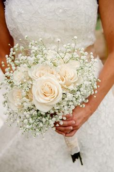 Romantic Bridal Bouquet Showcasing: Cream Roses + White Gypsophila (Baby's Breath)