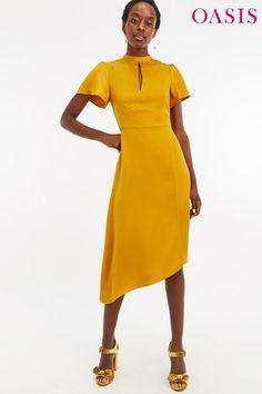1c1df6281c1c Buy Oasis Yellow Satin Asymmetric Midi Dress from the Next UK online shop