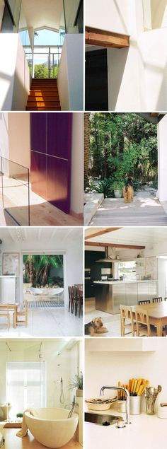 Higgovale-Forset-House. Cape Town. Renovation by Architect Tanya de Waal    A bridge suspended between the studio and home – a walk between the treetops, dappled light, palms and mountain streams. A space of contrasts- chunky beams with a slick black industrial kitchen and a calm Scandinavian interior.   12 years ago open plan kitchen and bathrooms were quite daring. But then so we're the clients- so it was a pleasure to design.