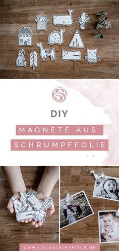 DIY: Süße Magnete aus Schrumpffolie für deine Lieblingsfotos. Wie du ganz schnell und einfach super niedliche Magnete aus Schrumpffolie selbst herstellst und deine Lieblingsfotos toll in Szene setzt. Ob für den Kühlschrank oder die magnetische Kreidetafel im Kinderzimmer. Da sich Schrumpffolie super schnell verarbeiten lässt ist es nebenbei das perfekte Material für Last-Minute-Geschenke! Clay Crafts For Kids, Crafts To Sell, Diy And Crafts, Paper Crafts, Shrink Paper, Shrink Art, Shrink Film, Art Activities For Kids, Art For Kids