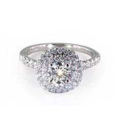 White Gold Double Halo Pave Engagement Ring
