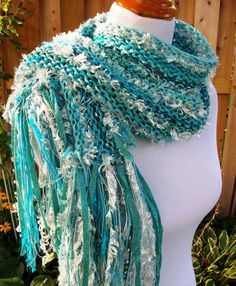 Aquamarine Hand Knit Scarf Hand Tied Imported Yarns by Fanchi, $40.00