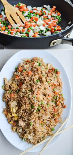 BETTER-THAN-TAKEOUT CHICKEN FRIED RICE (from Rachel Schultz).  ---- I make mine even healthier by using brown rice.
