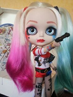 OOAK BLYTHE TBL HARLEY QUINN BY TEKUBI CUSTOMIZE FOR ADOPTION