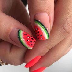Watermelon Nail Designs, Watermelon Nail Art, Fruit Nail Art, Fruit Art, Cute Nails, Pretty Nails, Wedding Nail Polish, Glamour Nails, Nail Tattoo