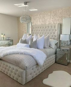 Glam Bedroom, Room Ideas Bedroom, Home Decor Bedroom, Silver Bedroom Decor, Bed Room, Kids Bedroom, Master Bedroom, Beautiful Bedroom Designs, Beautiful Bedrooms