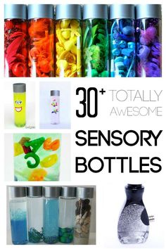 Totally Awesome Sensory Bottles for Kids Sensory bottles for kids are an incredible tool! As a former preschool teacher, I found them to be one of the most versatile items in my entire classroom. They invite Sensory Table, Sensory Bins, Sensory Activities, Sensory Play, Learning Activities, Preschool Activities, Sensory Boards, Sensory Therapy, Preschool Learning